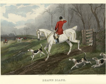 Horse Fox Hunting  Dogs Drawn Blank Fine Art from an Engraving Poster Repro FREE SHIPPING