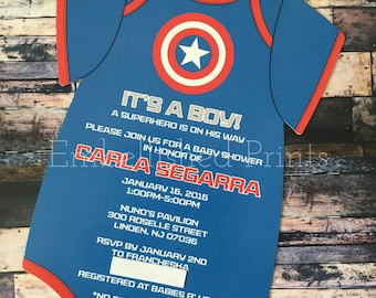 Captain America Themed Die-Cut Onsie Invitation