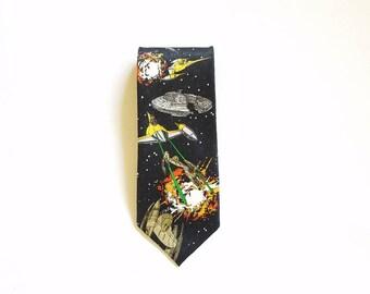 Vintage Star Wars Starfighter Silk Tie Novelty Tie Necktie Classic Starwars Fan Gift
