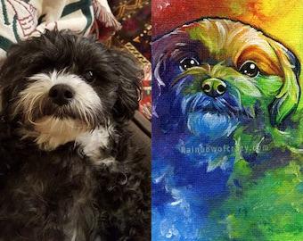 "Custom Pet Portrait, 3x5"" Canvas Board Painting, Rainbow Bridge Gift, Animal Nursery, Colorful Wall Art, Dog Owner, Cat Lover, Pet Memorial"