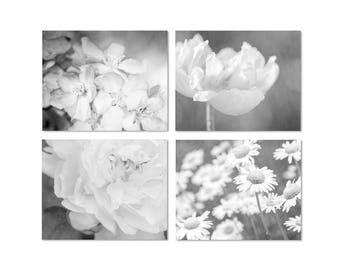 Black and White Flower Print Set, Cottage Chic Art, Dining Room Decor, Floral Art Prints or Canvas, Black and White Art, Gray Wall Art