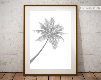California wall art, palm tree decor, silver print, palm print, gray art, tropical print, grey decor, botanical print, instant download