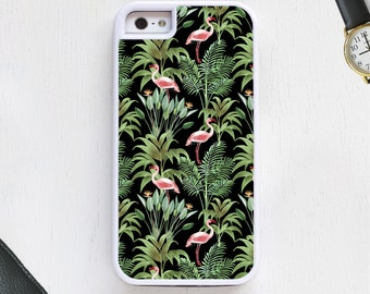 Tropical Flamingo bird cartoon w/feathers on cute black CellPhoneCase protective bumper cover iPhone6 iPhone7 Android s5 s6 s7 note4 note154