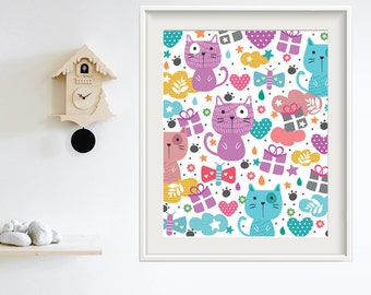 Printable Art, Printable Cute Cats, Printable Cat, Wall Decoration, Wall Art, Wall Decor Print, Colorful Children's Rooms