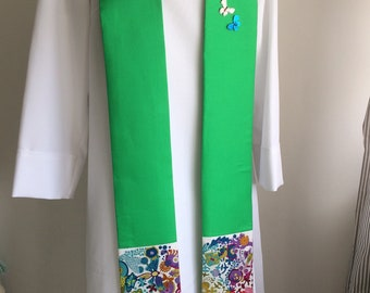 Green creation clergy stole