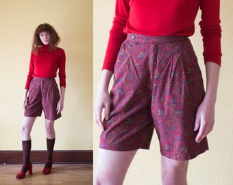 90s Royal Floral Printed High Waist Shorts Red Burgundy Structured Shorts Culottes Preppy Chic Victorian Printed Boyfriend Shorts