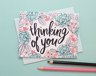 Thinking of you black and white flowers, Sympathy, You are not alone, Floral, Flowers, Illustration, Notecards, Greeting Card, Handlettered