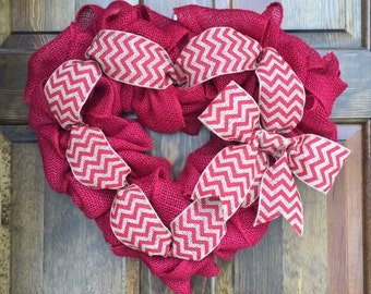 Valentine's Day Burlap Wreath, Valentines Day Wreath, Red Heart Wreath, Valentines Day Decor, Wedding Wreath