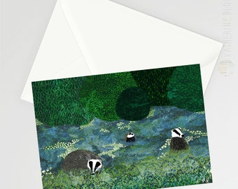 Badger Amongst the Bluebells A6 Card