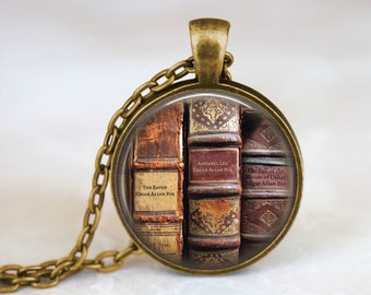 Book Necklace - Edgar Allan Poe Jewelry. Edgar Allan Poe Necklace. Book Lover Gift. Art Pendant