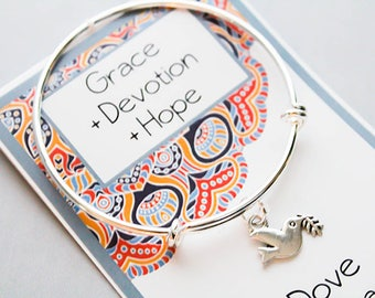Dove Charm Bracelet -Bangle Charm Bracelet - Grace - Devotion - Hope - Dove Charm Bracelet - Intention Bracelet
