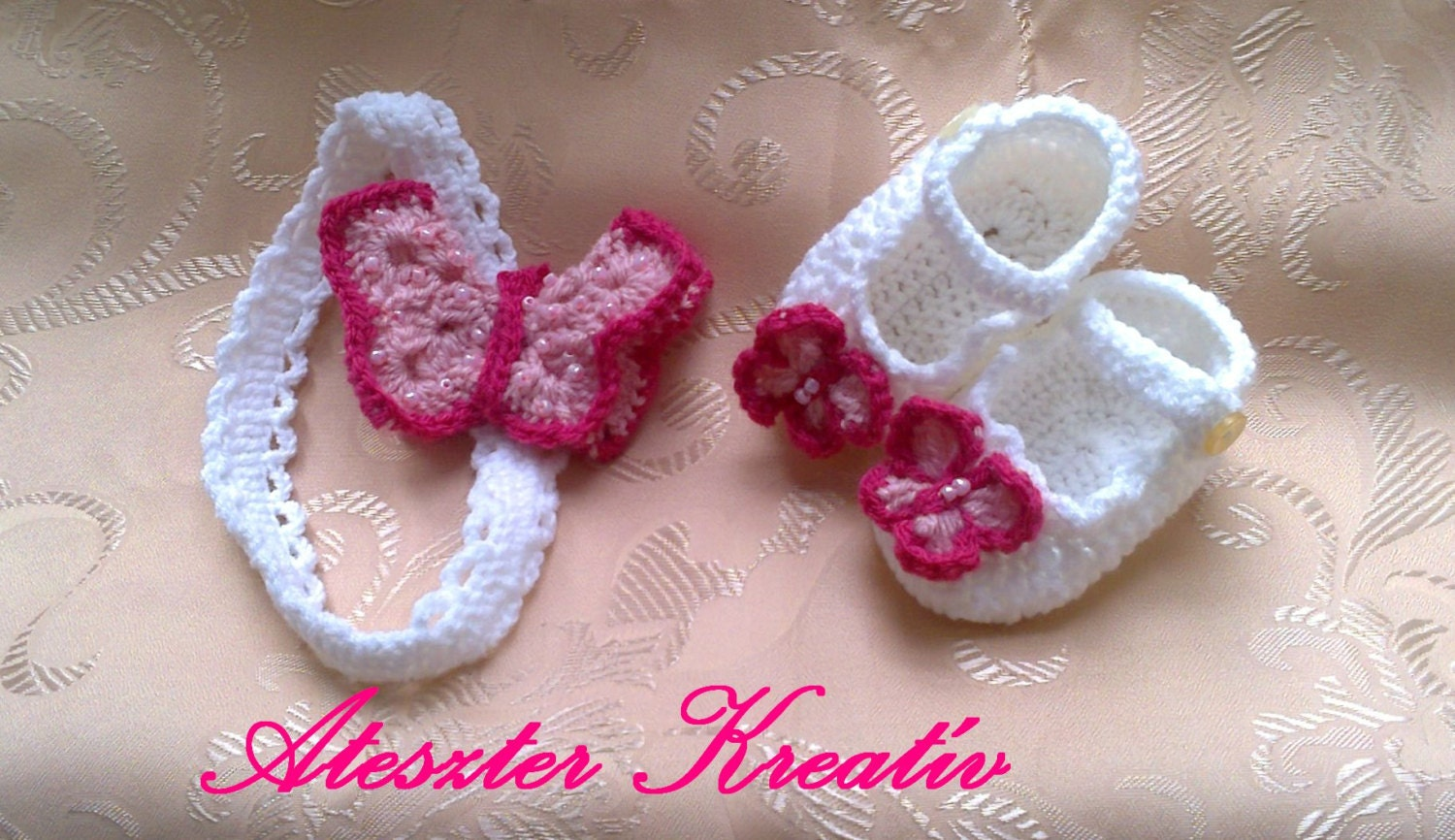 Crochet baby shoes and headband with pink butterfly Baby