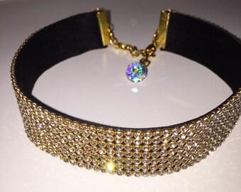 Gold clear Crystal Choker, choker jewelry, crystal jewelry