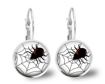 Halloween Earrings Tile Earrings Spider Earrings Halloween Jewelry Spider Jewelry Silver Earrings Beaded Jewelry Brass Jewelry