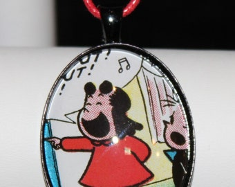 Little Lulu Vintage Comic Cartoon Book Pendant Necklace