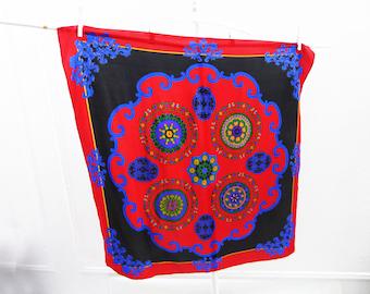 Vintage Scarf Silk Designer Liz Claiborne Paisley Red Blue Purple Gold 35 x 35