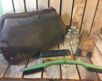 Vintage Men's Grooming Bag/Vintage Bag/Doctors Bag/Vintage Drs Bag/Vintage Leather Bag