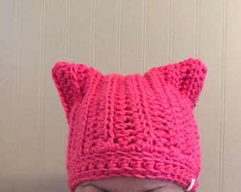 Pink cat hat, pink pussy hat, women's rights hat, pussy cat hat, feminist hat, crochet cat hat, crochet pussy cat hat, cat ears hat, crochet