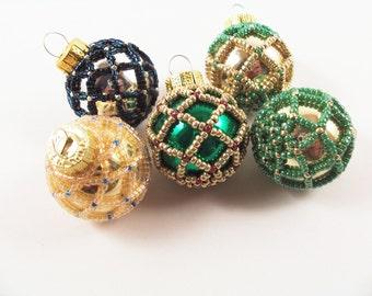 Beaded Christmas Ornament - Pattern 1 Net Beading, Beading Tutorial in PDF