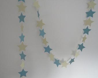Pastel Blue and Cream Star Garland, Baby Shower, Wedding Decor, Party Decor,