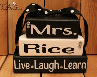 Personalized Teacher Name Wood Stacker Blockes/ Teacher Gift / Classroom