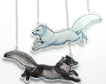 Double Sided Arctic Fox Acrylic Necklace