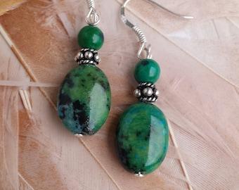 Chrysocolla earrings on silver