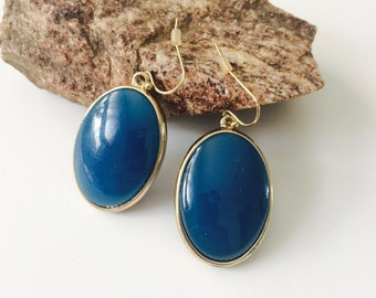 Blue Oval Earrings.