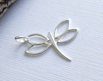 Sterling Silver Open Wing Dragonfly Charm -- 1 Pieces -- 925 Pendant