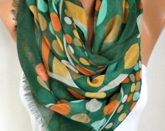 Easter,Green Polka Dot Cotton Scarf, Spring Summer Shawl, Cowl Oversized Wrap Gift Ideas For Her Women Fashion Accessories, Women Scarves