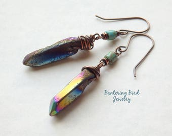 Blue Mystic Quartz Stone Point Earrings, Primitive Tribal Jewelry, Iridescent Crystal Spike Dangle, Wirewrapped Copper Jewelry