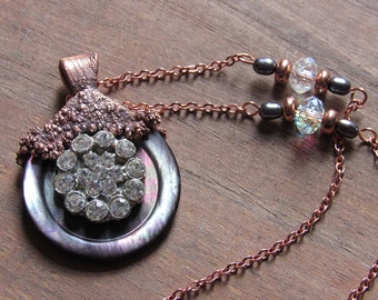Vintage Button Necklace / Electroformed Necklace / Mother of Pearl Necklace