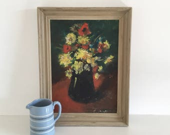 Vintage flower painting, still life flowers in a vase with painted frame, original art