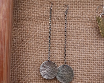 Long Hammered Antiqued Silver Circle Earrings