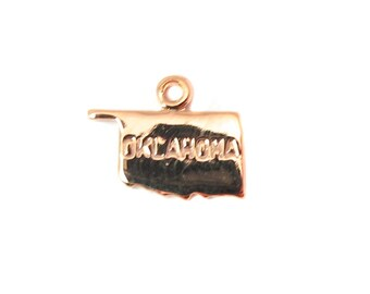 Engraved Tiny ROSE Gold Plated on Raw Brass Oklahoma State Charms (2X) (A435-D)