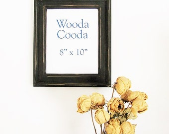 8x10  Wood rustic picture frame. Stacked antique black picture frame.