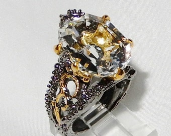 White Quartz Ring size 7 1/4 Natural Octagon 17 x 13mm white quartz gemstone Black Rhodium 14kt yellow gold and silver Ring
