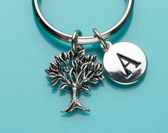Tree of Life Keychain, Tree of Life Key Ring, Initial Keychain, Personalized Keychain, Custom Keychain, Charm Keychain, 363