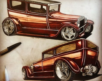 Ford Model T Custom Hot Rod art. Hot rod art Ford Model T custom concept. Wall hanging of Model T custom hot rod art, man cave decor, office