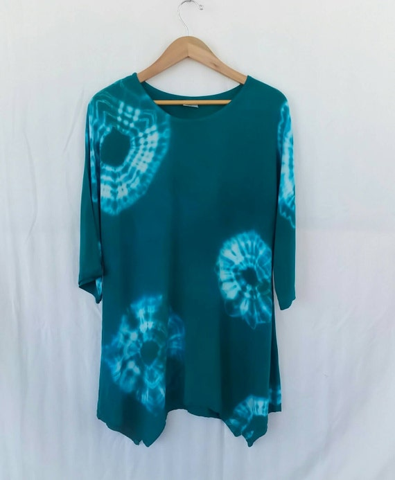Hand Dyed Women's Tunic/Asymmetric Turquoise Tunic/ Tie Dyed/ Long Sleeve/Women's