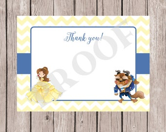 Beauty and the Beast Thank You Note, Belle Thank you Note, Thank you card, Beauty and the Beast, Belle