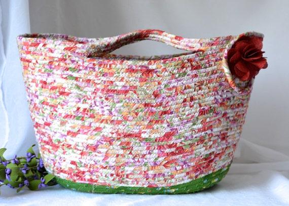 Artisan Tote Bag, Handmade Gift Basket, Pretty Nutmeg Floral Moses Basket, Lovely Storage Organizer, Hand Bag,  Purse, Beach Bag