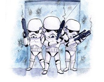 Stormtroopers Fan Art Watercolor Print