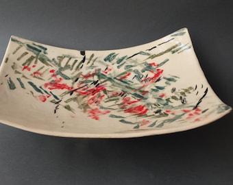 Ceramic platter. Handmade platter. Hand decorated ceramic platter. Home decor. Kitchen and dining.