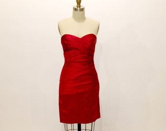 Vintage 80s Ruby Red Sexy Ruched Body Con Fitted Dress