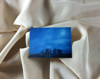 Print of Original Oil Painting Stonehenge  ACEO