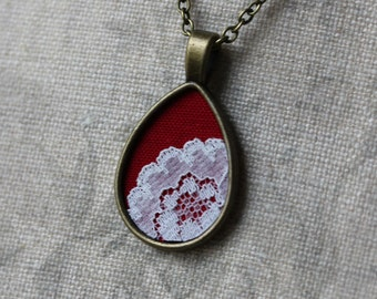 Red Necklace, Lace Teardrop Pendant, Cotton Fabric, Unique Bridesmaid Gift, Women, Wife, Anniversary, Boho Wedding Jewelry