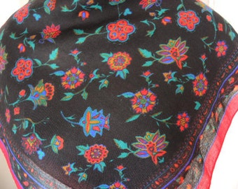 vintage 1970s scarf floral acrylic red and black ornate slightly sheer 25 x 27 inches