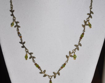 Brass Necklace Green Vine Link Crystals #736 One Of A Kind