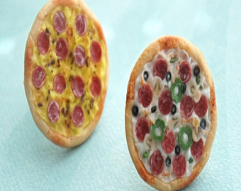 pizza ring- miniature food jewelry, pizza jewelry, supreme pizza, hawaiian pizza